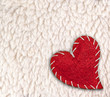 heart over white woolly sheep background