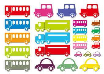 可愛い乗り物(影付き、立体感あり) バス、自動車