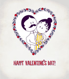 Old-Fashion Couple Valentine's Greeting Card