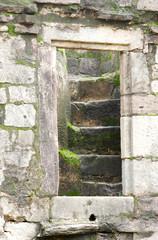 A closeup of stairs in Madan Mahal Fort, Jabalpur