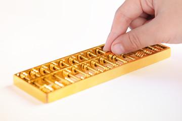 golden abacus closeup