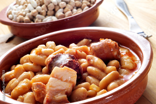 fabada asturiana, typical spanish bean stew