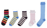 Several multi-colored socks