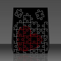 Minimal art valentine's day puzzle heart flyer design