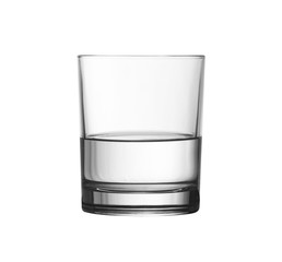 low half full glass of water isolated on white with clipping pat