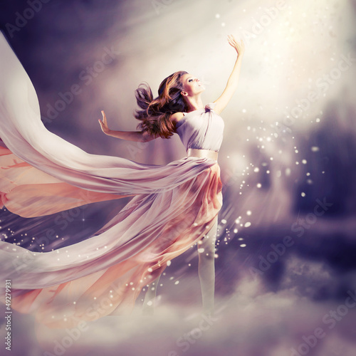 Beautiful Girl Wearing Long Chiffon Dress. Fantasy Scene