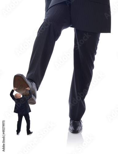 suit stepping on employee