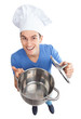 Chef holding empty pot