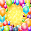 colorful balloons as frame on holiday background