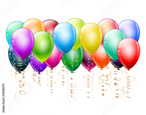 bunch of colorful balloons on white