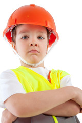 Portrait of boy in orange helmet, insulation
