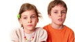 Two kids boy and girl look isolated