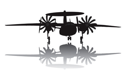 Awacs aircraft take off. Vector silhouette with reflection