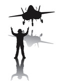 Stealth plane and aircraft carrier crewman. Vector silhouettes