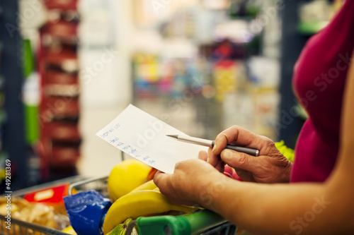 Close-up of shopping list.