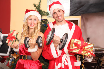 Merry Xmas in a fitness center