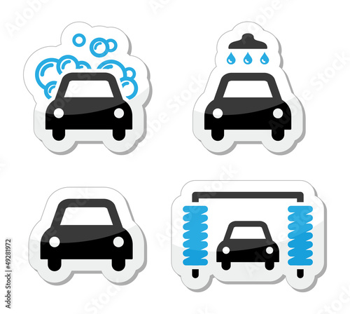 Car wash icons set - vector