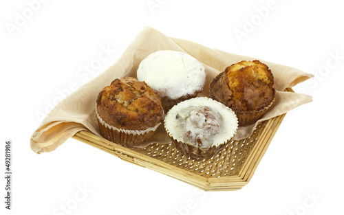 Assorted muffins in wicker basket