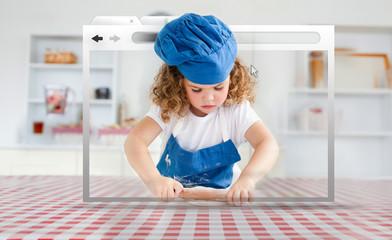 Digital internet window showing girl in cookery gear rolling pas