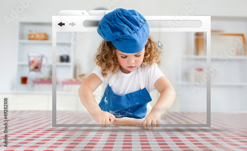 Digital internet window showing girl in cookery gear rolling pas