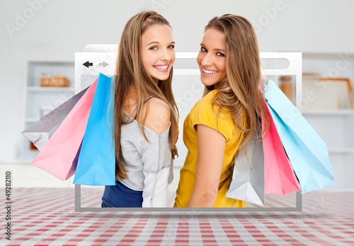 Digital internet window showing girls with shopping bags