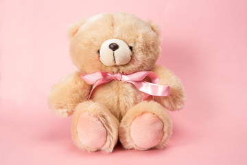 Fluffy teddy with pink ribbon
