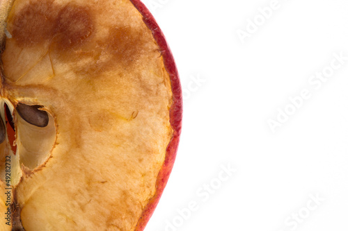 Close up of halved rotten apple