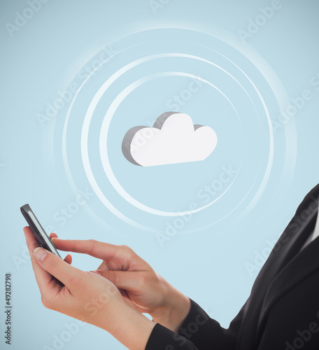 Businesswoman connecting her phone to cloud computing