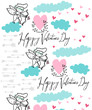 Vector background shooting cupid