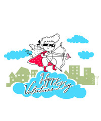 Vector Valentine Card with shooting cupid