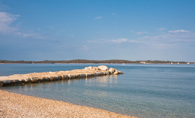Beach in the early morning. Istria, Fazana, Croatia