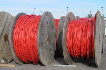 huge electrical cable reels for the transport of electricity hig