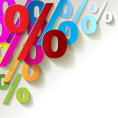 % Prozent Bunt Papier Ecke Hintrergrund