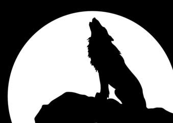 Heulender Wolf vor Mond, sitzend