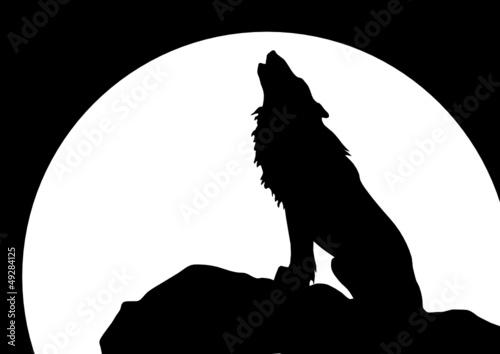leinwandbild heulender wolf vor mond sitzend fototapeten aufkleber poster leinwandbilder. Black Bedroom Furniture Sets. Home Design Ideas