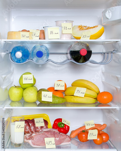 Open fridge full of fruits, vegetables and meat