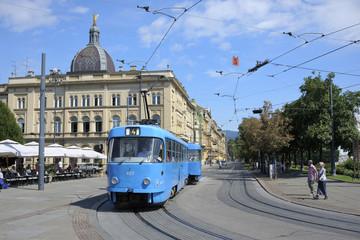 Blue tram