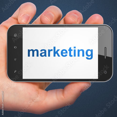 Advertising concept: smartphone with Marketing