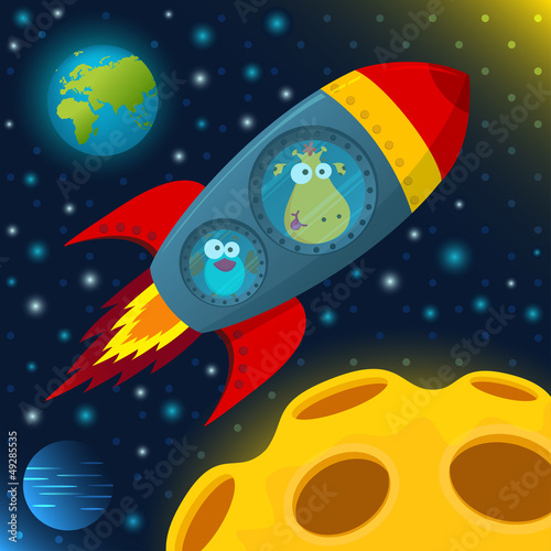 giraffe and bird in space