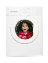brunette girl in the washing machine.