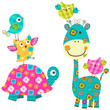 cute birds, giraffe and turtle