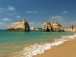 Praia de Rocha beach on the Algarve region.