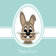 happy easter bunny white egg blue background