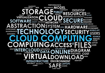 CLOUD COMPUTING tag cloud (technology virtual web online)