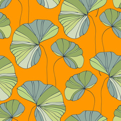 waterlily seamless flower tropical pattern