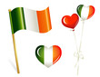 Ireland country flag, heart and balloons in irish colors