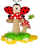 Ladybug on a mushroom