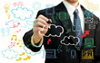 Businessman with cloud computing themed pictures