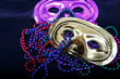 Purple and Gold Masks with Mardi Gras Beads