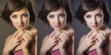 3 photos: original, color correction and retouch poster